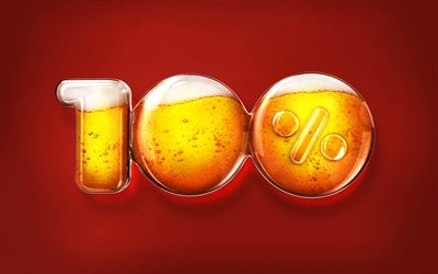 beer, creative, 100 percent, brown background