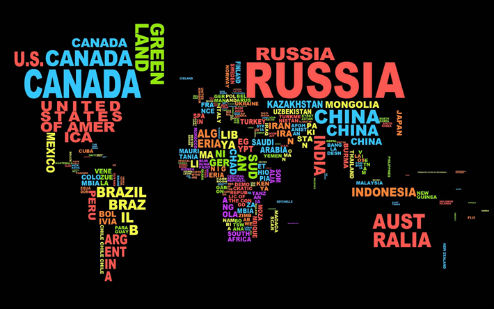 Download wallpapers world map typography names of countries world map typography names of countries political map of the world gumiabroncs Images