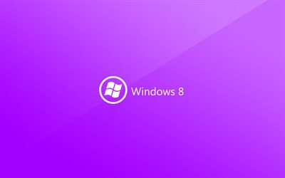 Windows 8, 4k, creativo, diseño de materiales, fondo púrpura, logotipo, logotipo de Windows 8, de Microsoft