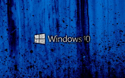 Windows 10, 4k, creativo, logotipo, grunge, fondo azul, Windows 10 logotipo de Microsoft