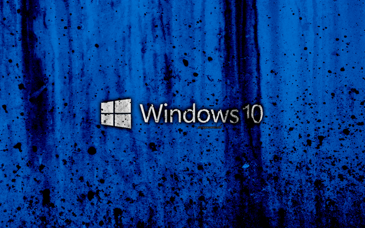 Windows 10, 4k, creative, logo, grunge, blue background, Windows 10 logo, Microsoft