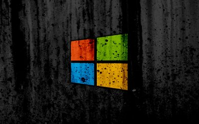 Windows 8, 4k, creativa, el grunge, el negro backgroud, logotipo, logotipo de Windows 8, de Microsoft