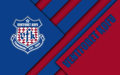 Ventforet Kofu FC, 4k, la conception de matériaux, Japonais, club de football, bleu, rouge abstraction, logo, Kofu, Yamanashi, au Japon J1 Ligue, le Japon Ligue de Football Professionnel, de la J-League