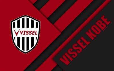 Vissel Kobe FC, 4k, la conception de matériaux, Japonais, club de football, noir et rouge de l'abstraction, de logo, Kobe, Hyogo, Japon, J1 Ligue, le Japon Ligue de Football Professionnel, de la J-League