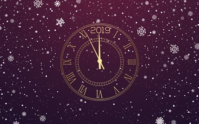 download wallpapers happy new year midnight time golden clock purple 2019 background 2019 concepts for desktop free pictures for desktop free