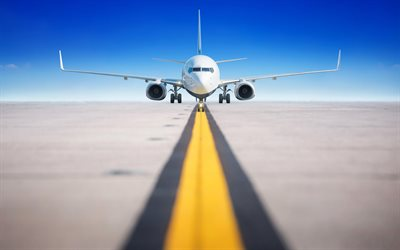 passenger plane, runway, airport, airliner, plane taking off, air flight, air travel