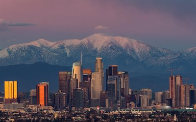 Los Angeles, sunset, cityscape, evening, California, skyscrapers, USA, mountain landscape