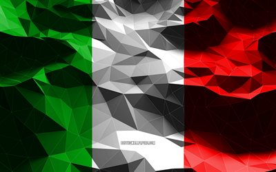 4k, Italian flag, low poly art, European countries, national symbols, Flag of Italy, 3D flags, Italy flag, Italy, Europe, Italy 3D flag