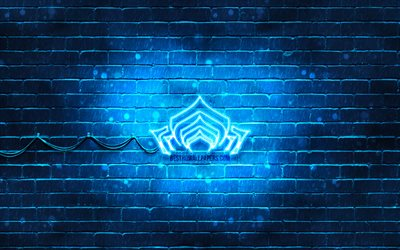 Warframe blue logo, 4k, blue brickwall, artwork, Warframe logo, RPG, Warframe neon logo, Warframe