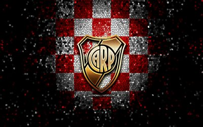 River Plate FC, glitter logo, Argentine Primera Division, red white checkered background, soccer, argentinian football club, River Plate logo, mosaic art, CA River Plate, CARP, football, Club Atletico River Plate