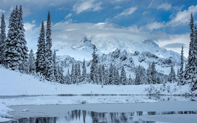 Mount Rainier, Cascade Range, winter, mountain landscape, winter landscape, Mount Rainier National Park, Washington, USA