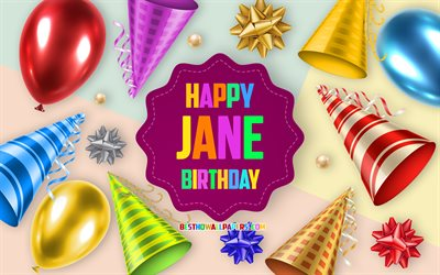 Happy Birthday Jane, 4k, Birthday Balloon Background, Jane, creative art, Happy Jane birthday, silk bows, Jane Birthday, Birthday Party Background