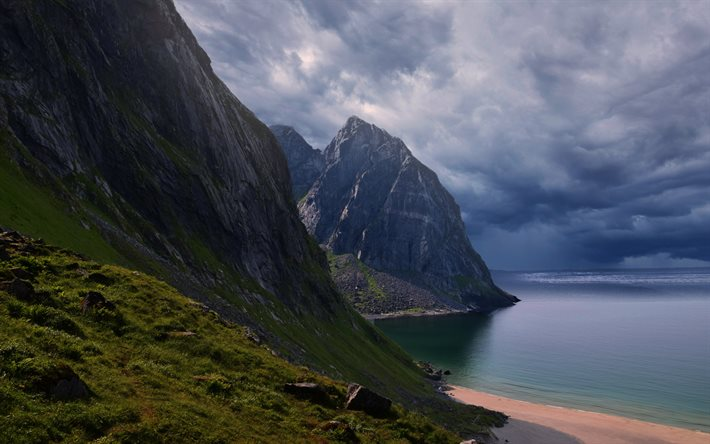 Norwegian sea, coast, rocks, downpour at sea, thunderstorm, sea, Norway