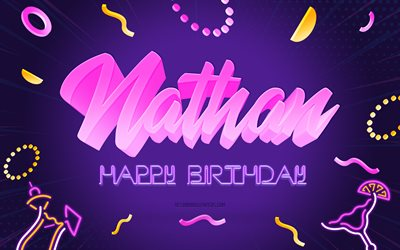 Happy Birthday Nathan, 4k, Purple Party Background, Nathan, creative art, Happy Nathan birthday, Nathan name, Nathan Birthday, Birthday Party Background
