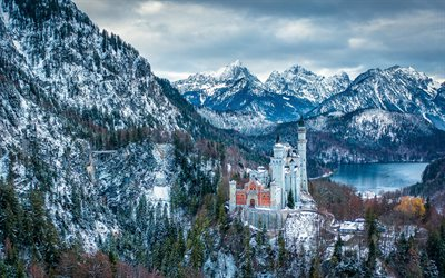 Neuschwanstein Castle, Schwansee, winter, mountain landscape, Bavarian Alps, palace, Schwangau, Bavaria, Germany