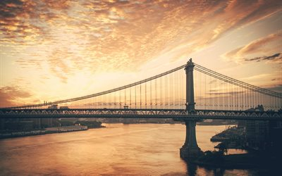 New York, sera, tramonto, ponte di Manhattan, paesaggio urbano, East River, panorama di New York, USA