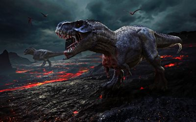 angry dinosaurs, 3D art, lava, wildlife, monsters, dinosaurs