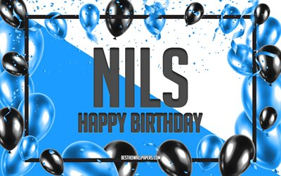 Happy Birthday Nils, Birthday Balloons Background, Nils, wallpapers with names, Nils Happy Birthday, Blue Balloons Birthday Background, Nils Birthday