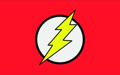 The Flash logo, 4k, minimalism, red background, creative, The Flash, Logo of Flash