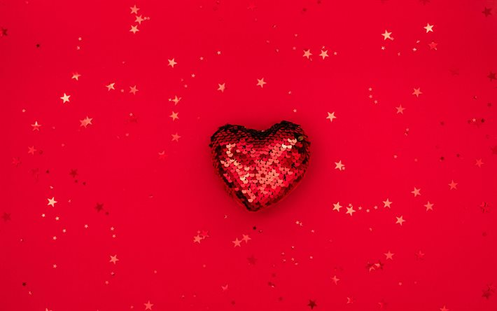 red glitter heart, heart on red background, love heart background, romance background, red heart