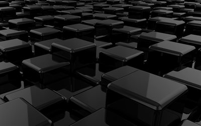3d black cubes, 3d black background, 3d black glass cubes, background with 3d cubes, black creative background