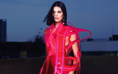 Kendall Jenner, 4k, movie stars, Vogue US, photoshoot, Hollywood, beauty, red dress, american models