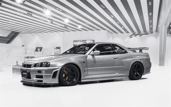 Nissan GTR R34, Sports Coupe, Japanese Sports Cars, Nissan Skyline, Silver  GTR