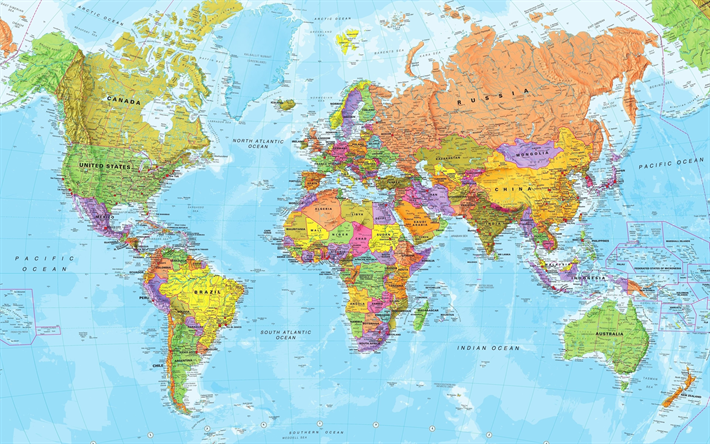 Download wallpapers world map political map 4 countries of the world map political map 4 countries of the world oceans countries gumiabroncs Images