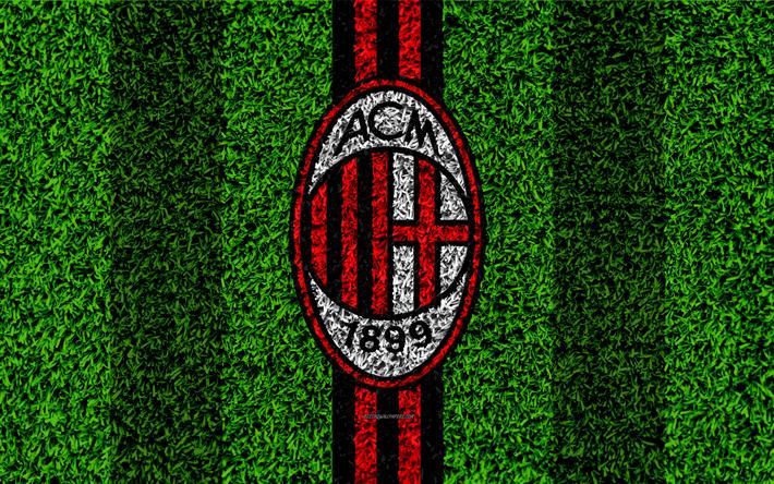 Herunterladen Hintergrundbild Ac Mailand 4k Logo Fussball