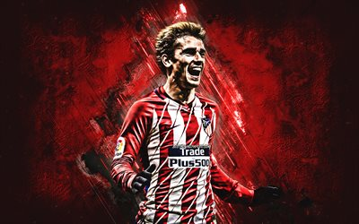 Antoine Griezmann, Atletico Madrid, portrait, French football player, striker, creative art, red stone background, La Liga, Spain, famous football players, football