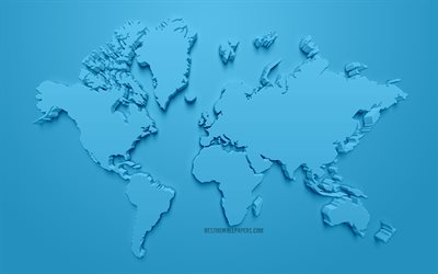 Blue 3D world map, creative 3D art, blue background, world map concepts, continents