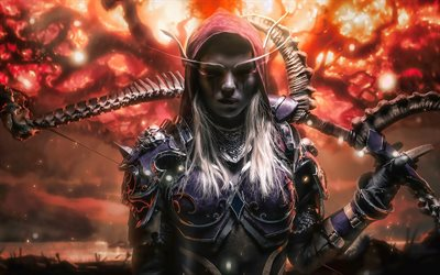 Sylvanas Windrunner, 2019 games, World of Warcraft, warriors, artwork, Elf, WoW