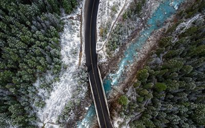 beautiful river, aerial view, forest, asphalt road, spring, Canada