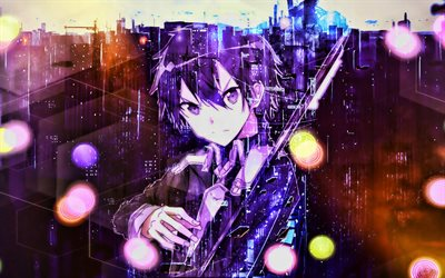 Kirito, glare, artwork, Sword Art Online, manga