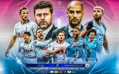 Tottenham Hotspur FC vs Manchester City FC, UEFA Champions League, 2019, quarterfinal, creative art, promo, Jafar art, design by Jafar, football, Tottenham Hotspur, Manchester City FC