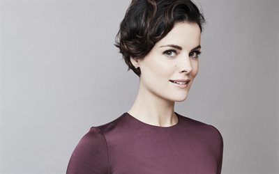 Jaimie Alexander, American actress, portrait, photoshoot, Hollywood star, burgundy dress, beautiful brunette
