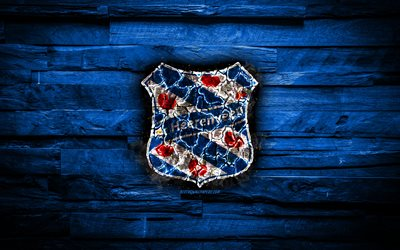 Heerenveen FC, burning logo, Eredivisie, blue wooden background, Dutch football club, LaLiga, grunge, SC Heerenveen, football, soccer, Heerenveen logo, fire texture, Netherlands