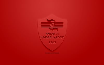 Kardemir Karabukspor, creative 3D logo, red background, 3d emblem, Turkish Football club, 1 Lig, Karabuk, Turkey, TFF First League, 3d art, football, 3d logo