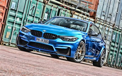 4k, BMW M3, port, F80, tuning, HDR, blue m3, superautot, tunned f80, saksan autoja, sininen f80, BMW