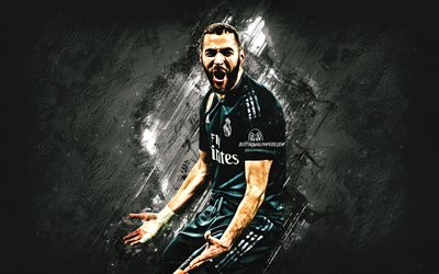Karim Benzema, Real Madrid, French football player, striker, portrait, black stone background, creative art, La Liga, Spain