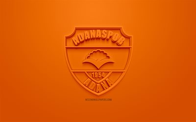 Adanaspor, creative 3D logo, orange background, 3d emblem, Turkish Football club, 1 Lig, Adana, Turkey, TFF First League, 3d art, football, 3d logo