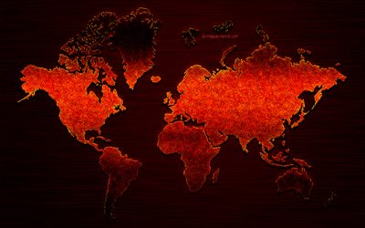 Red creative world map, red glitter texture, creative art, red metal map, iron background, world map concepts