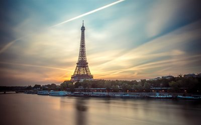 Paris, Eiffel Tower, morning, sunrise, Seine River, cityscape, France