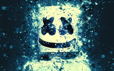 Marshmello, 4k, light blue neon, superstars, american DJ, Christopher Comstock, Marshmello 4K, artwork, fan art, DJ Marshmello, DJs