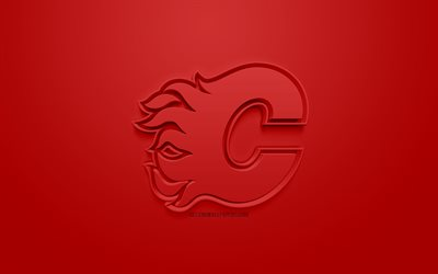 Calgary Flames, Canadian hockey club, creative 3D logo, red background, 3d emblem, NHL, Calgary, Alberta, Canada, USA, National Hockey League, 3d art, hockey, 3d logo