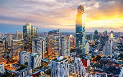 MahaNakhon, Bangkok, Thailand, skyscraper, sunset, the capital of Thailand, cityscape, evening