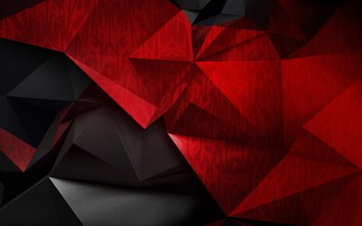 black red polygon background, red black low poly background, red black abstraction, creative background, geometric backgrounds