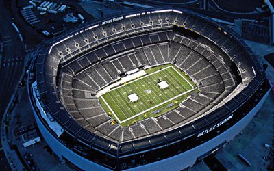 MetLife Stadium, american football stadium, evening, aerial view, NFL Stadiums, East Rutherford, New Jersey, USA, New York Giants Stadium, New York Jets Stadium, National Football League