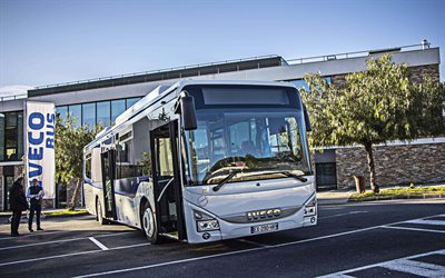 Iveco Crossway, 4k, 2019 buses, passenger bus, city transport, white bus, Iveco, HDR, bus on parking