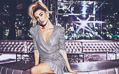 Hailey Baldwin, 2019, Hollywood, night club, 4k, movie stars, american celebrity, beauty, Hailey Baldwin photoshoot